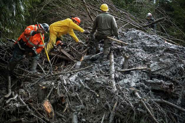 Rescue workers use chainsaws and other tools to dig through a tangle of trees and mud marked as having a possible victim of the Oso mudslide along State Route 530 near Darrington, Wash. Rescue and recovery workers slogged through thick mud and debris as rain poured down on the area one week after the devastating disaster. Photographed on Saturday, March 29, 2014. Photo: JOSHUA TRUJILLO, SEATTLEPI.COM / SEATTLEPI.COM