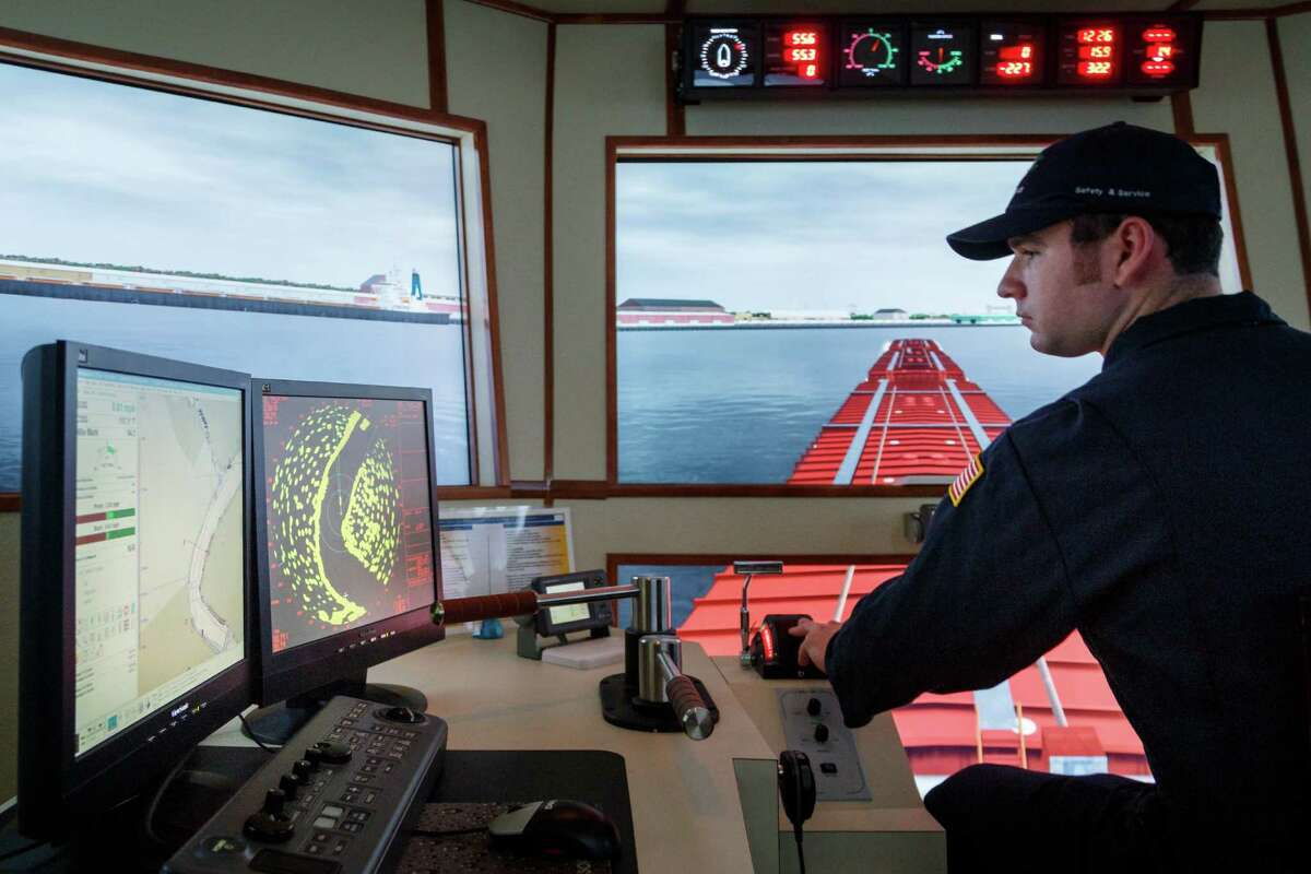 Trainee Josh Stallings runs through a towboat simulation at the Kirby Training Center in Houston. His grandfather was a captain for Kirby Inland Marine.