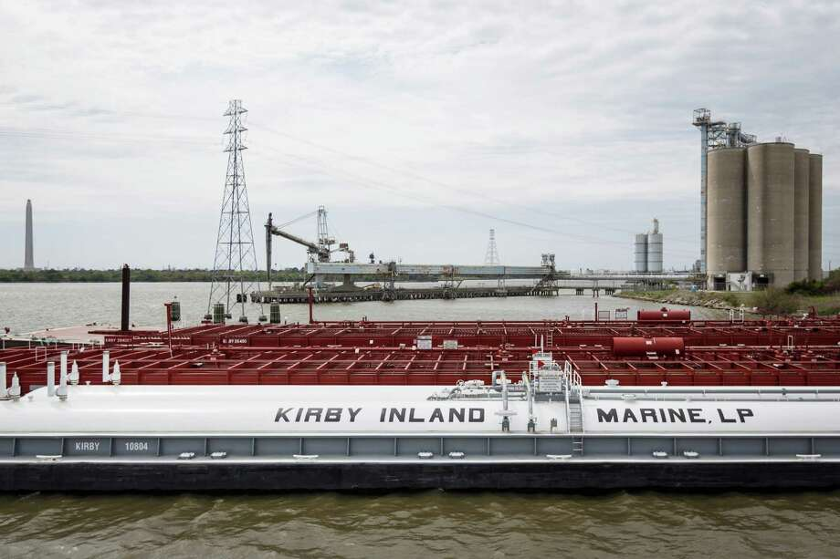 Barges moored in a Kirby fleet on the Houston Ship Channel, Wednesday, March 26, 2014.  Kirby has four fleets of barges. Photo: Michael Paulsen, Houston Chronicle / © 2014 Houston Chronicle