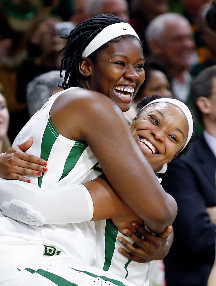 It's all good for Baylor's Sune Agbuke, left, and Odyssey Sims after the Lady Bears beat Kentucky to advance to play Notre Dame on Monday. Photo: Paul Sancya, STF / AP