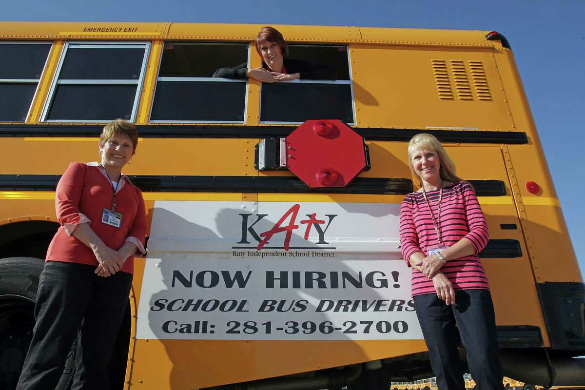 Janell Triche (from left), Uli Ashmore and Diane Williams have been driving Katy buses for decades.