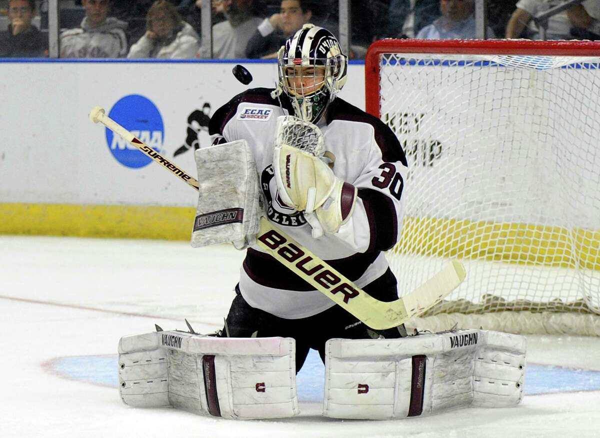 Union goaltender Colin Stevens makes a save against Providence during the second period of the final of the men's NCAA East Regional college hockey tournament, Saturday, March 29, 2014, in Bridgeport, Conn. (AP Photo/Fred Beckham) ORG XMIT: CTFB105