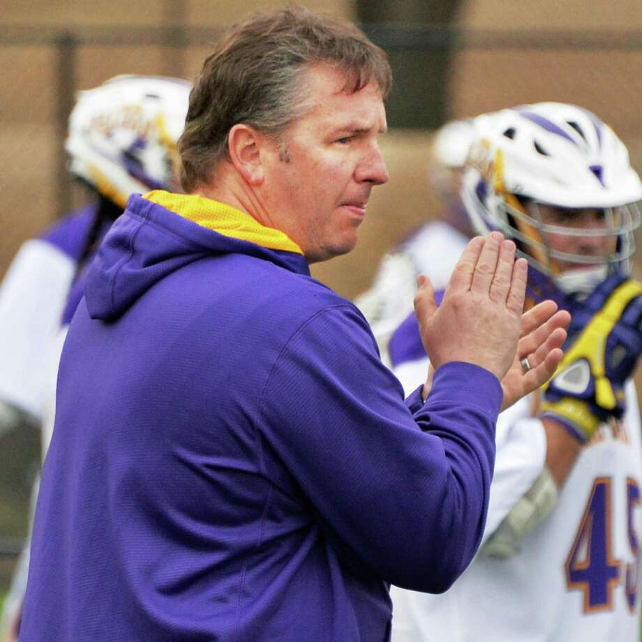 UAlbany head coach Scott Marr cheers his players during Saturday's game against Vermont March 29, 2014, in Albany, NY.  (John Carl D'Annibale / Times Union) Photo: John Carl D'Annibale / 00026295A