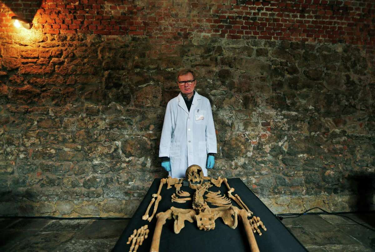 In this Wednesday, March 26, 2014 photo, Don Walker, a human osteologist with the Museum of London, poses for photographers, with one of the skeletons found by construction workers under central London's Charterhouse Square. Twenty-five skeletons were uncovered last year during work on Crossrail, a new rail line that's boring 13 miles (21 kilometers) of tunnels under the heart of the city. Archaeologists immediately suspected the bones came from a cemetery for victims of the bubonic plague that ravaged Europe in the 14th century. The Black Death, as the plague was called, is thought to have killed at least 75 million people, including more than half of Britain's population.