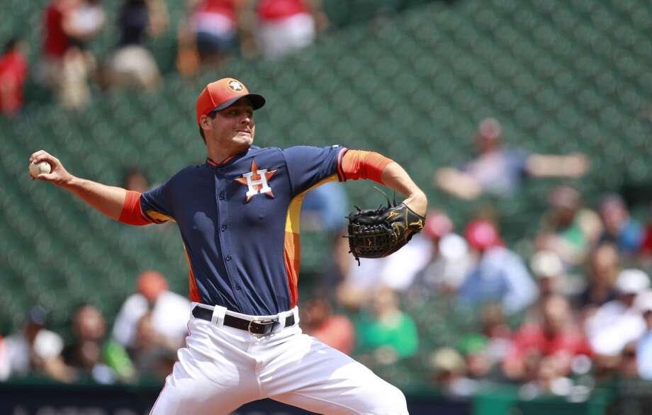March 30: Astros 6, Veracruz 1  Mark Appel of the Astros throws against the Rojos del Aguila de Veracruz. Photo: Melissa Phillip, Houston Chronicle