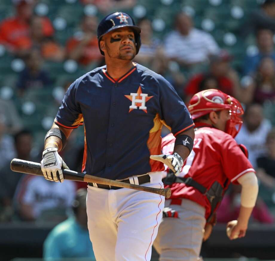 Carlos Corporan of the Astros reacts after striking out against the Rojos del Aguila de Veracruz. Photo: Melissa Phillip, Houston Chronicle