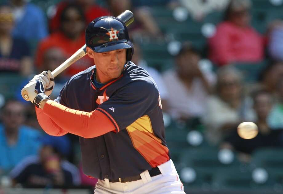 George Springer of the Astros watches the ball and earns a walk against the Rojos del Aguila de Veracruz. Photo: Melissa Phillip, Houston Chronicle