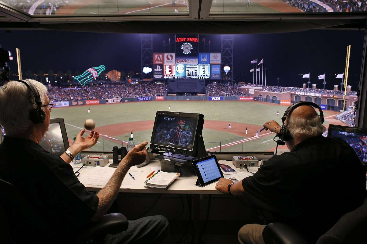 Giants broadcasters Mike Krukow, left, and Jon Miller call the game from the TV booth as the San Francisco Giants played the Oakland Athletics in a pre-season game at AT&T Park in San Francisco, Calif., on Thursday, March 27, 2014. Broadcasters throughout the game are bombarded by countless statistics which dissect a player's success to the finest detail. While some broadcasters use them, others prefer call their games with good old fashioned research done firsthand.