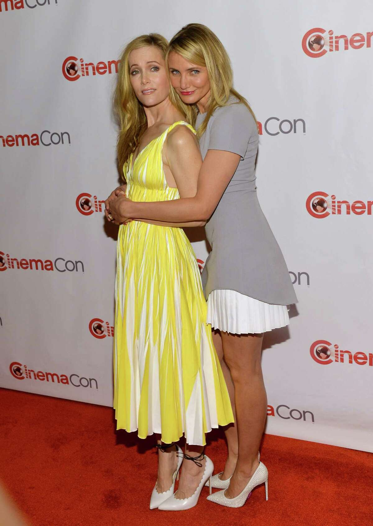 Actresses Leslie Mann (L) and Cameron Diaz attend 20th Century Fox's Special Presentation Highlighting Its Future Release Schedule during CinemaCon, the official convention of the National Association of Theatre Owners, at The Colosseum at Caesars Palace on March 27, 2014 in Las Vegas, Nevada.