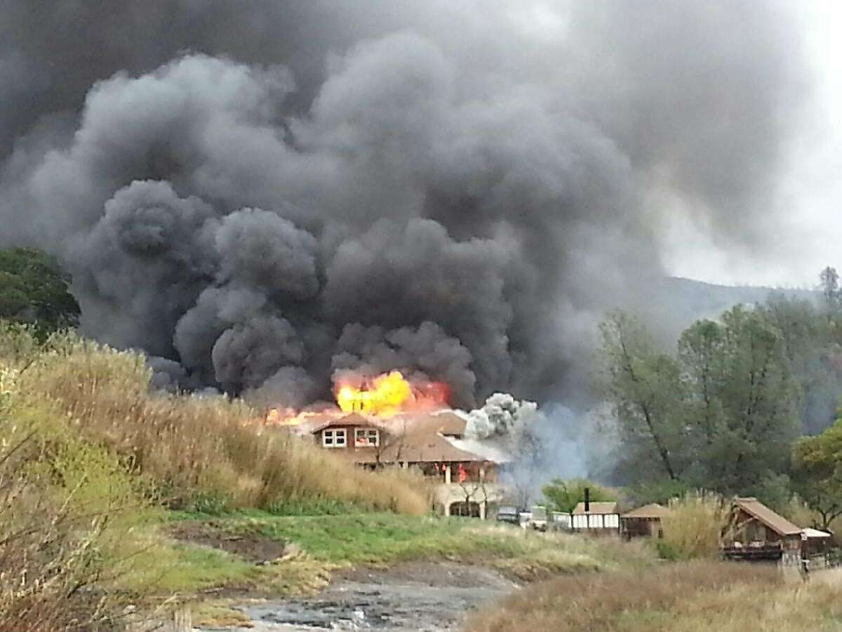 The lodge at Wilbur Hot Springs burns on March 29, 2014 in Colusa County, Calif.