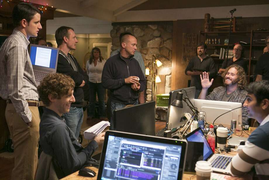 "Alec Berg (second from left) and Mike Judge (center) on the ""Silicon Valley"" set. Photo: Jaimie Trueblood, HBO"
