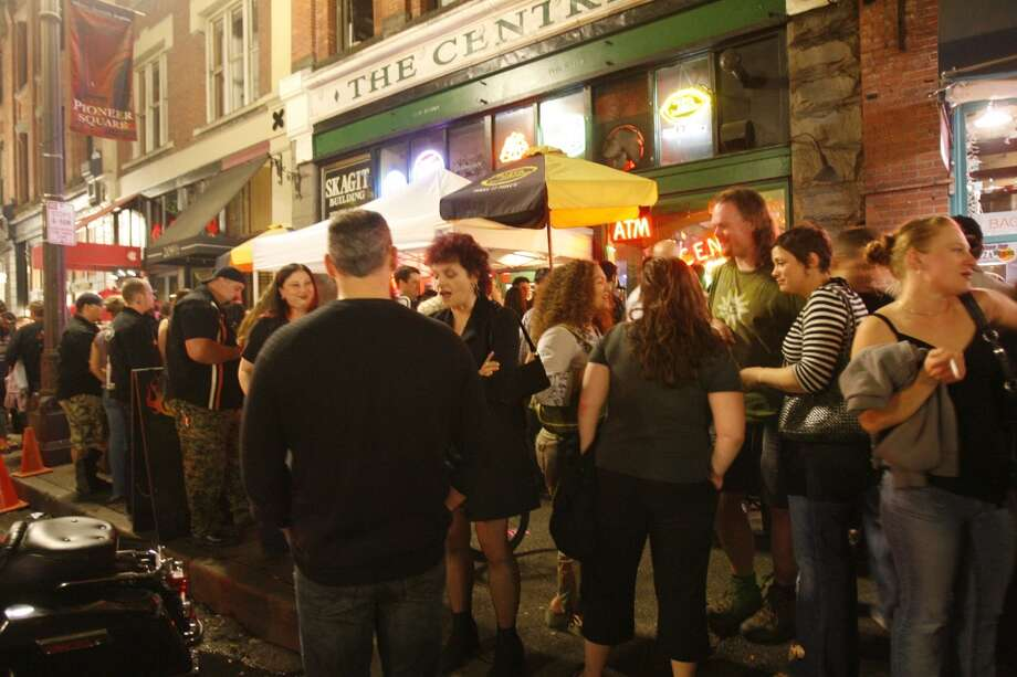 "Near the Central is the  historic J&M Cafe, not pictured. In the '80s and '90s, both bars were part of Pioneer Square's bustling night life, which often looked like this (photo: 2007). The J&M also calls itself ""Seattle's oldest bar,"" having opened in 1902 or 1903. A related hotel opened earlier, in 1889. Historians, you sort it out. Photo: Grant M. Haller, P-I"
