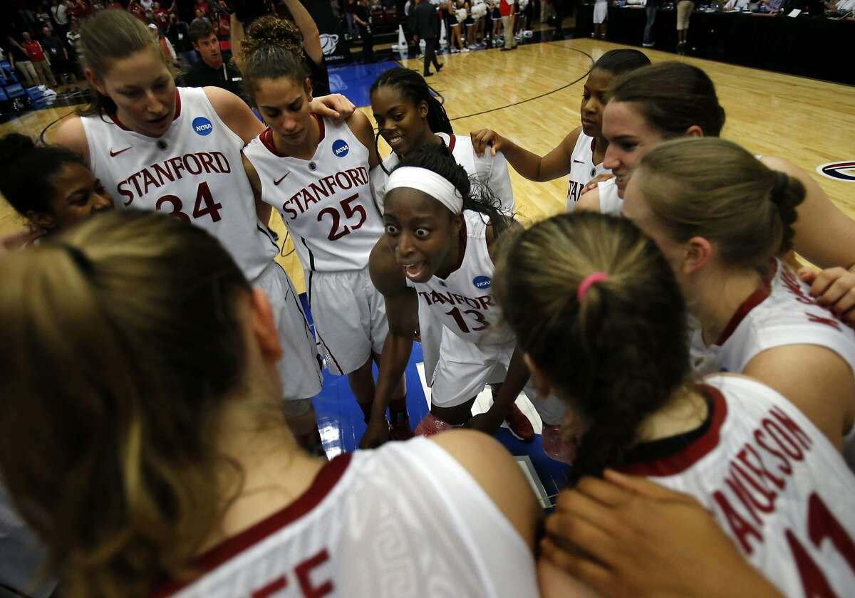 Chiney Ogwumike (13) celebrated with her teammates after the Stanford victory Sunday March 30, 2014. The women's Stanford Cardinal basketball team defeated the Penn State Lady Lions 82-57 in the third round of the NCAA tournament at Maples Pavilion.