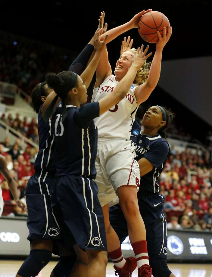 Stanford forward Mikaela Ruef battles Penn State defenders in the second half. Ruef had 11 points and 13 rebounds. Photo: Brant Ward, The Chronicle