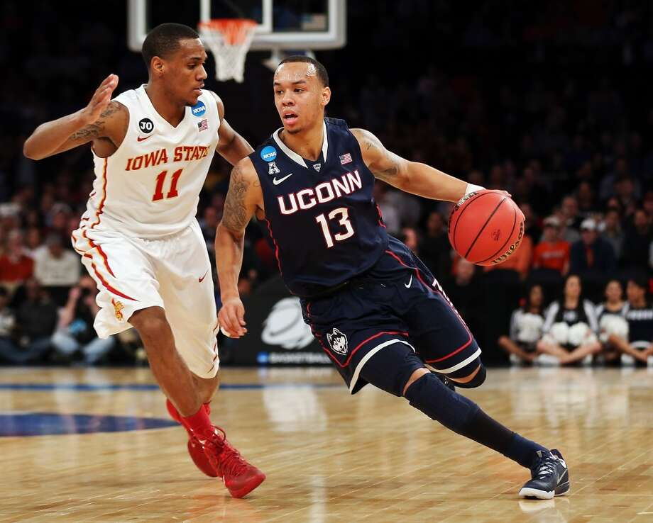 March 28: Sweet 16  No. 7 UConn 81, No. 3 Iowa State 76 Shabazz Napier #13 of Connecticut handles the ball against Monte Morris #11 of Iowa State. Photo: Bruce Bennett, Getty Images