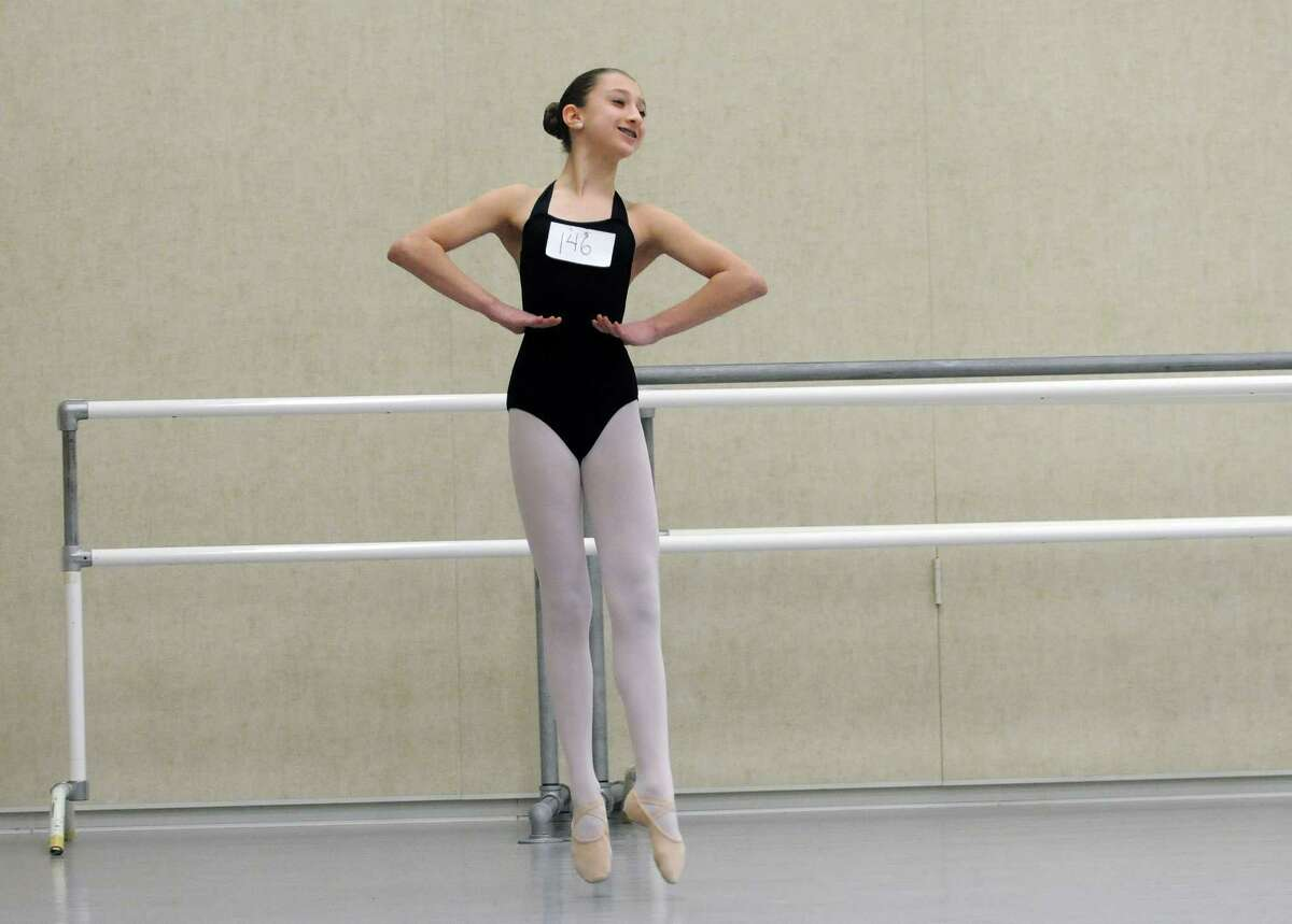 Marisa Mycek, 12, from Fonda, performs during tryouts for a New York City Ballet performance this summer on Sunday, March 30, 2014, at the National Museum of Dance in Saratoga Springs, N.Y. One hundred girls tried out for the 48 spots. The girls chosen will perform with the New York City Ballet this summer at SPAC in the Circus Polka. (Paul Buckowski / Times Union)