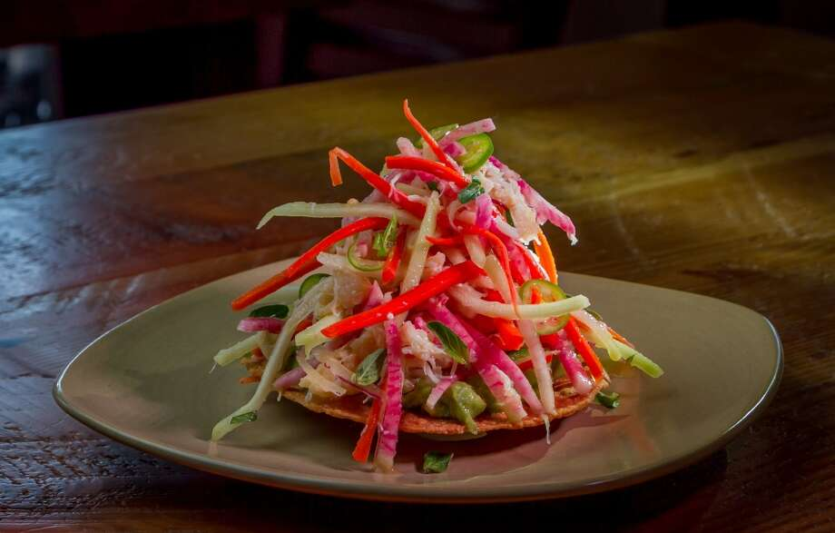 The Dungeness Crab Tostada at Sabrosa in San Francisco, Calif., is seen on Saturday, March 22nd, 2014. Photo: Special To The Chronicle