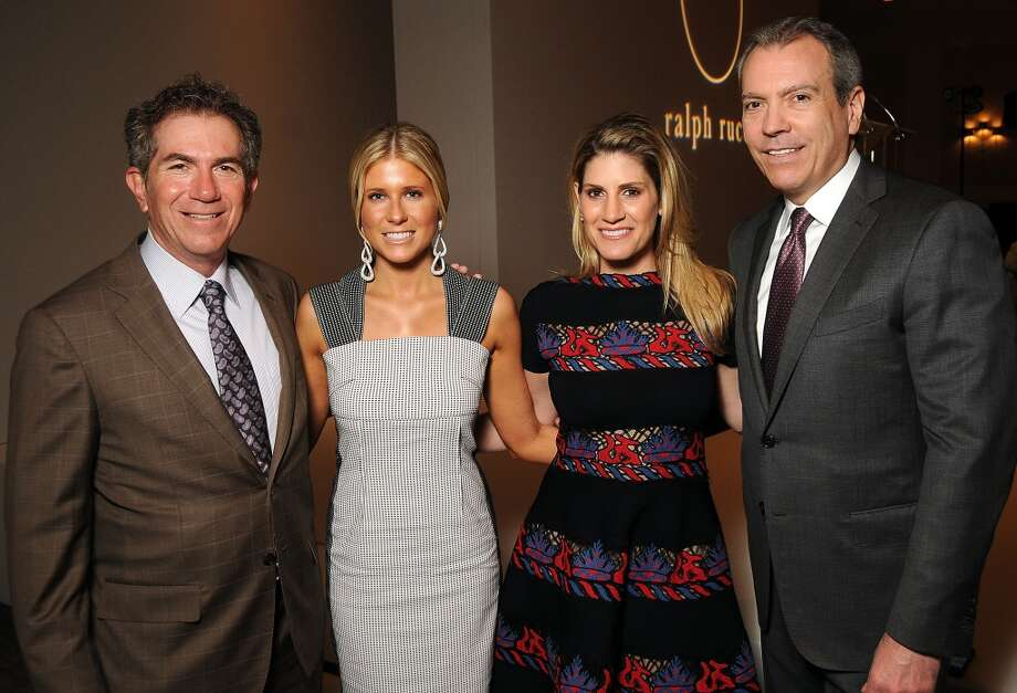 From left: The Houston Chronicle's Jeff Cohen, chairs Allie Fields and Greggolry Burk and Neiman Marcus' Bob Devlin Photo: Dave Rossman, For The Houston Chronicle