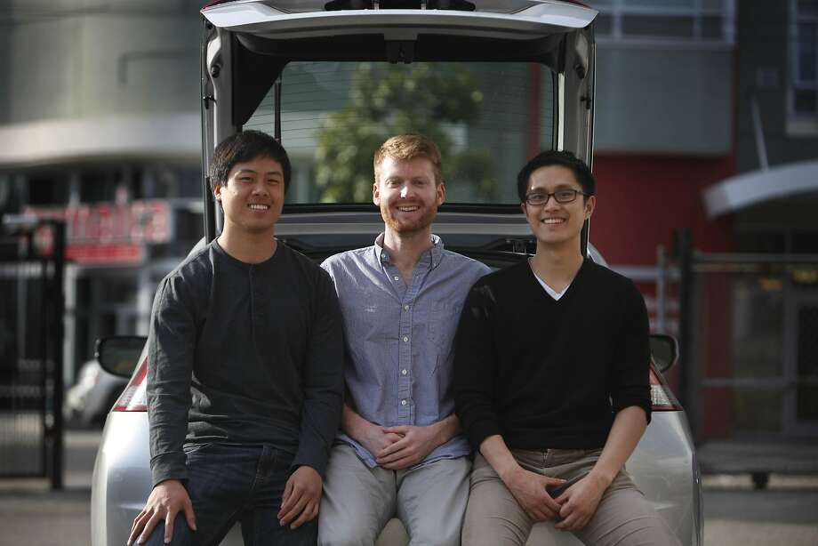 Breeze co-founders Charlie Fang (left), Ned Ryan and Jeff Pang say their 25 cars are all booked by ride-service drivers. Photo: Lea Suzuki, The Chronicle