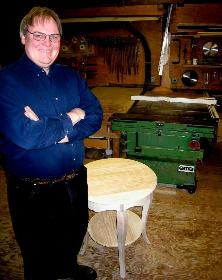 SPECTRUM/Ted Wojciechowski takes a break from his crafts work at South Kent Cabinetry, Feb. 8, 2010. Photo: Norm Cummings / The News-Times