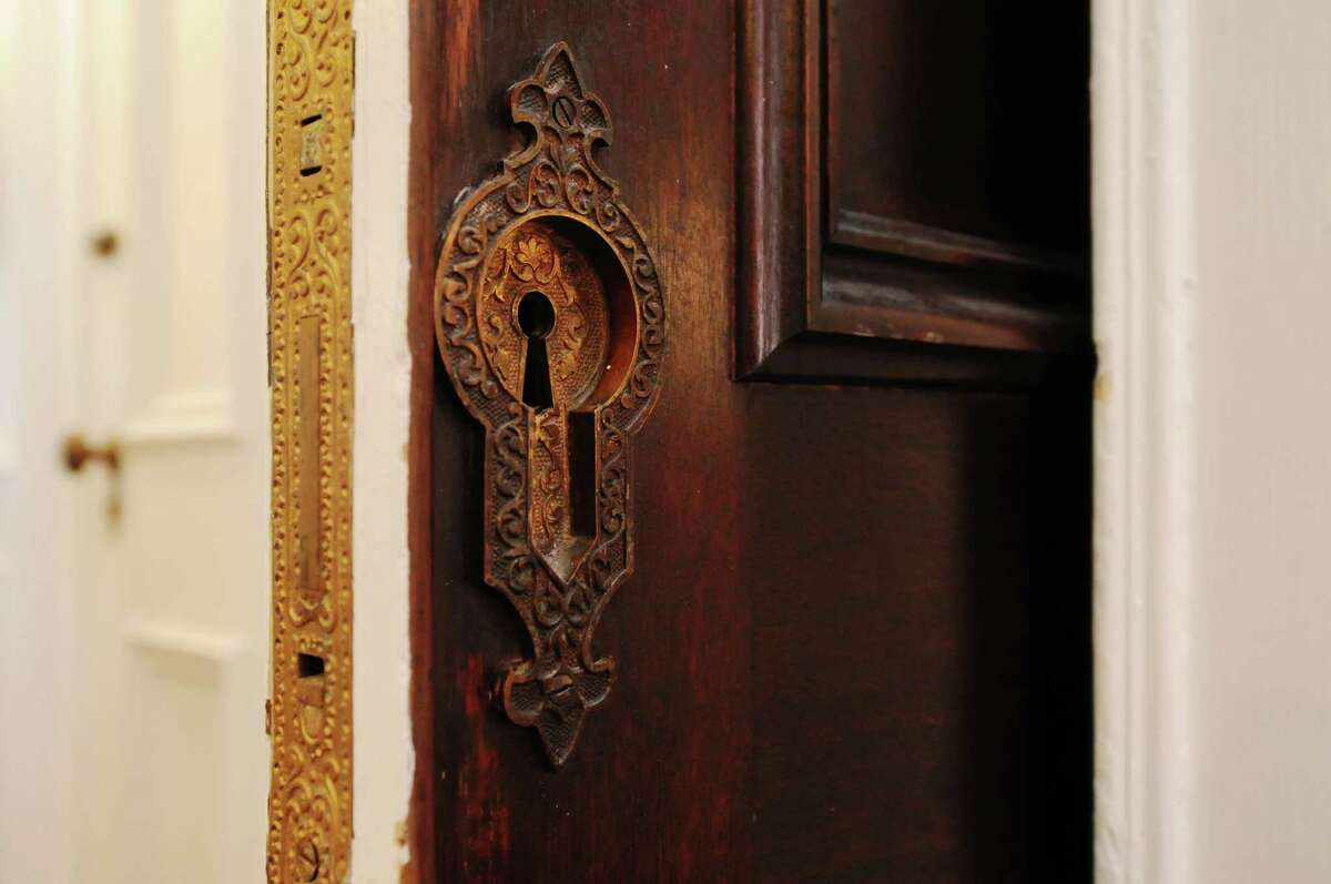 A detailed view of a pocket door to a conference room at the offices of Spiral Design Studio on Monday, March 24, 2014, in Cohoes, N.Y. (Paul Buckowski / Times Union)