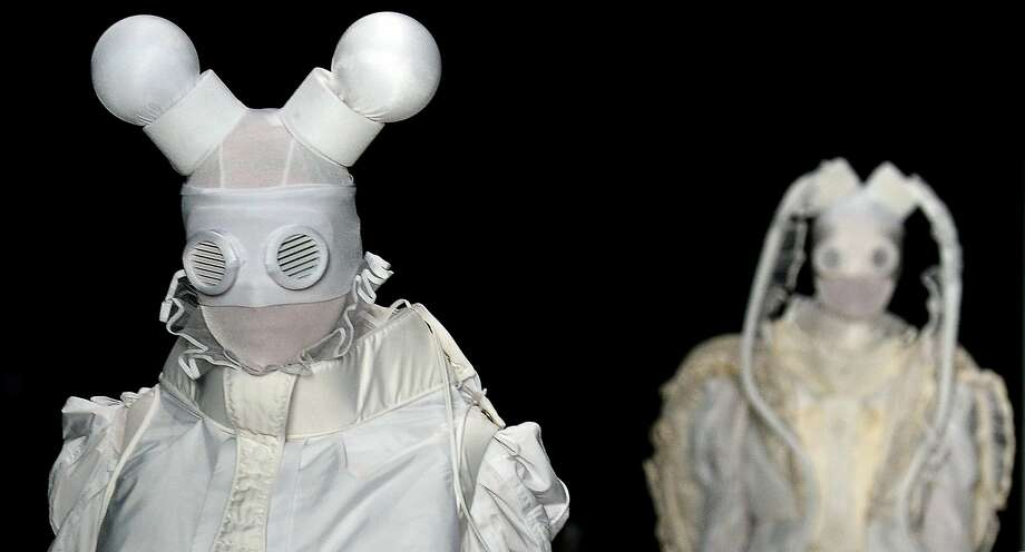 Or as we like to call it, Mouseketeers Go to Chernobyl:A model presents a creation by Russian designer Yulia   Kosyak during the Contrfashion fashion show in Moscow. Photo: Yuri Kadobnovyuri, AFP/Getty Images