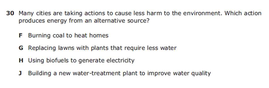 Grade 5 ScienceAnswer: H Photo: Texas Education Agency