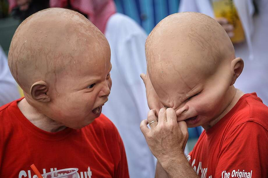 The terrible twos at the rugby sevens:And the winners of the   creepiest fan contest at the rugby sevens tournament in Hong Kong are ... Photo: Philippe Lopez, AFP/Getty Images