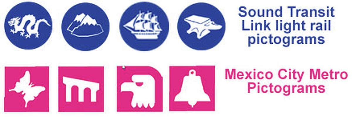 Pictograms representing Sound Transit Link light rail and Mexico City Metro stations.