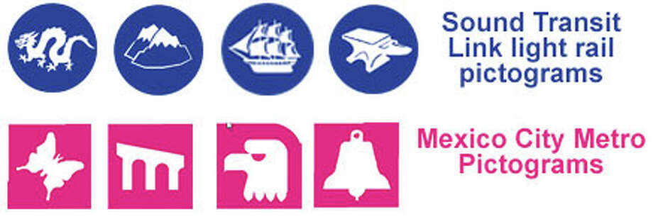 Pictograms representing Sound Transit Link light rail and Mexico City Metro stations. Photo: Sound Transit