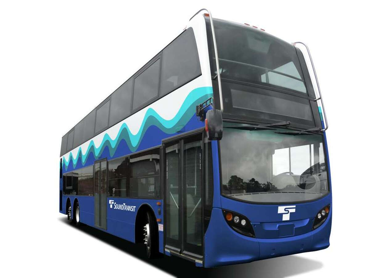 A depiction of a new double-decker bus Sound Transit plans to use for service between Snohomish County and Seattle starting in 2015.