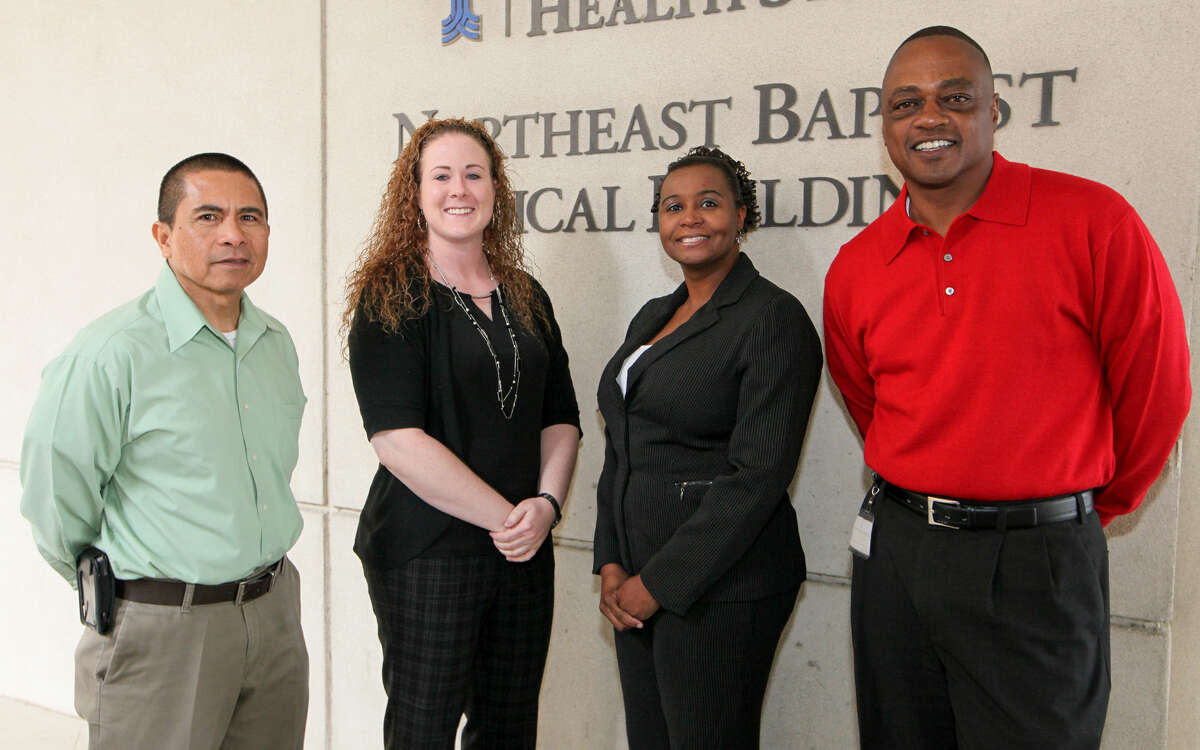 From left, case manager Pedro Munalem, Rebecca Plimpton, case manager Chelsea McKinney and housing coordinator Shawn Rouse.