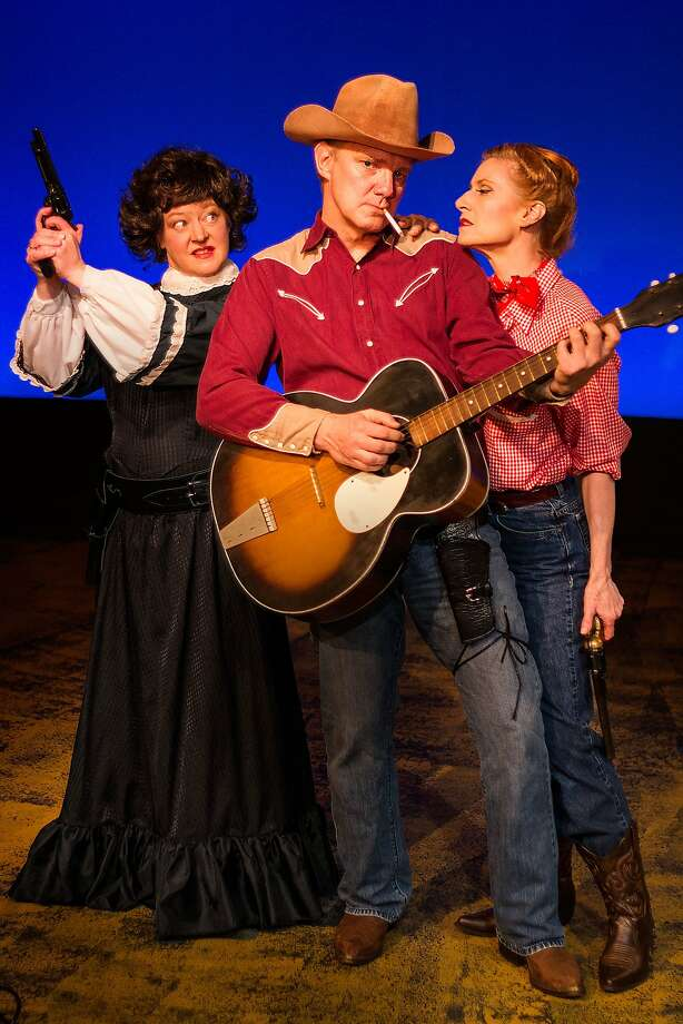 "Michelle Pond, left, Shay Oglesby-Smith (right) and Craig Eychner in ""Johnny Guitar,the Musical"" at Masquers Playhouse, Photo: Budinger & Scarpelli"