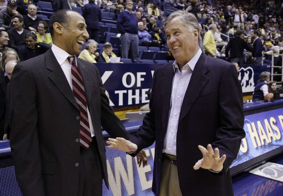 California head coach Mike Montgomery, right, and Stanford head coach Johnny Dawkins, left, smiles before an NCAA college basketball game in Berkeley, Calif., Sunday, Jan. 29, 2012. Photo: Paul Sakuma, Associated Press