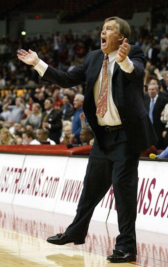 Stanford University coach Mike Montgomery reacts to a call during the second half against Unversity of Southern California, Thursday, Feb. 19, 2004, in Los Angeles. Photo: NAM Y HUH, AP