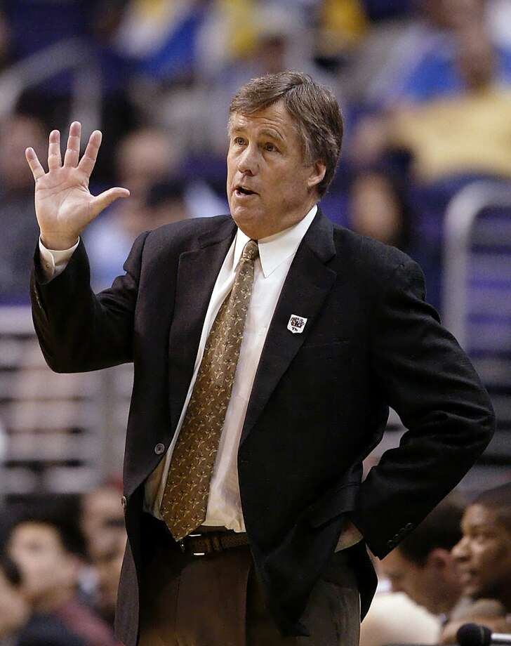 Stanford coach Mike Montgomery gestures to his players in this file photo from the first round of the Pac-10 tournament Thursday, March 11, 2004, in Los Angeles. Photo: KEVORK DJANSEZIAN, AP