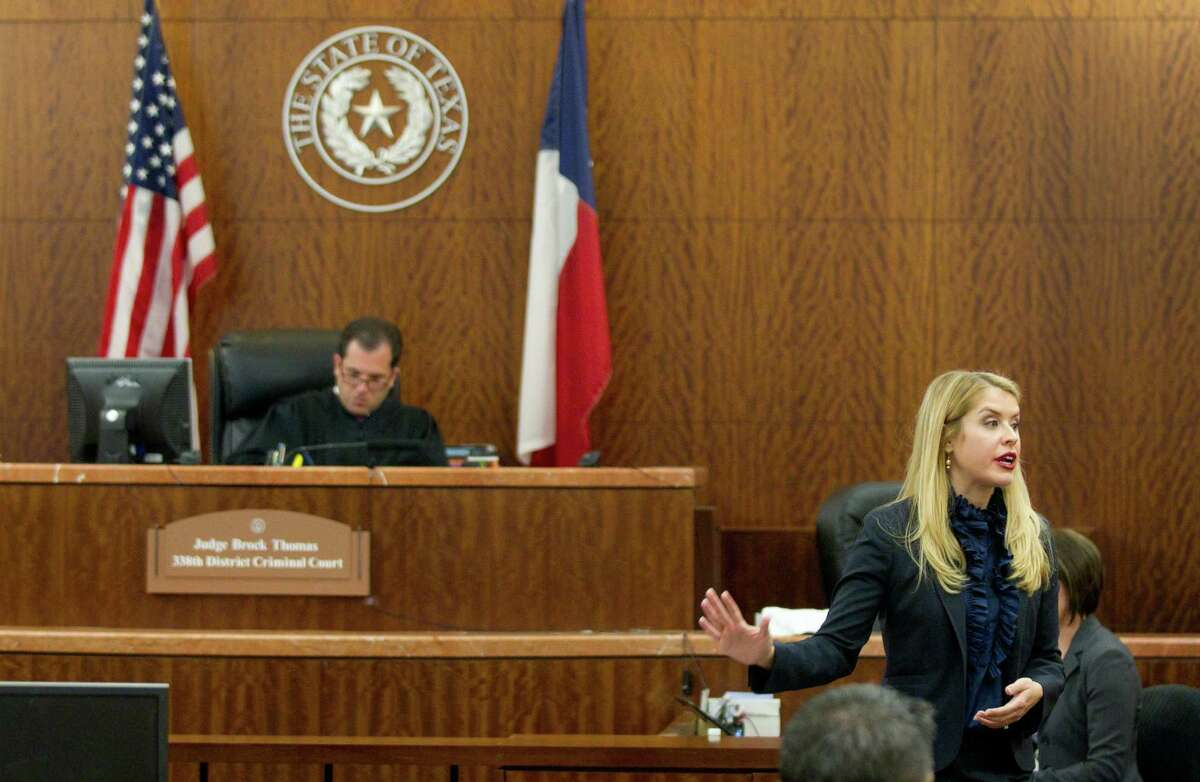 Prosecutor Sarah Mickelson give her opening argument in the trial against Ana Lilia Trujillo Monday,March 31, 2014, in Houston. Trujillo, 45, is charged with murder, accused of killing her 59-year-old boyfriend, Alf Stefan Andersson, at his Museum District high-rise condominium in June 2013.