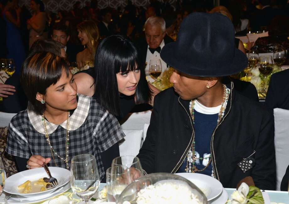 (L-R) Helen Lasichanh, singer Katy Perry and musician Pharrell Williams attend MOCA's 35th Anniversary Gala presented by Louis Vuitton at The Geffen Contemporary at MOCA on March 29, 2014 in Los Angeles, California. Photo: Michael Buckner, Getty Images For MOCA