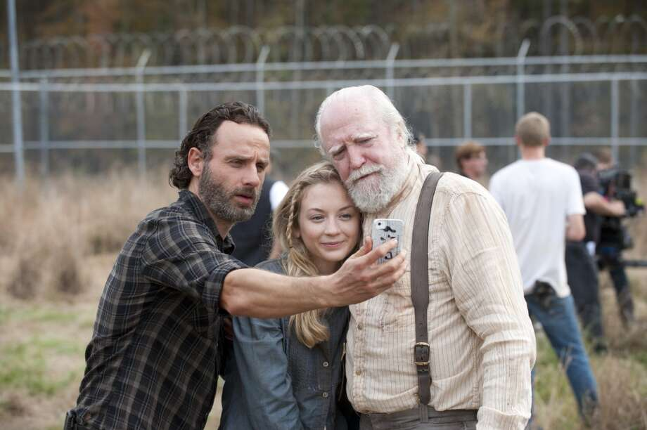 Andrew Lincoln, Emily Kinney and Scott Wilson - The Walking Dead _ BTS - Season 4, Episode 16 - Photo Credit: Gene Page/AMC