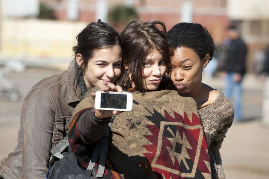 Alanna Masterson, Lauren Cohan and Sonequa Martin Green - The Walking Dead _ BTS - Season 4, Episode 16 - Photo Credit: Gene Page/AMC