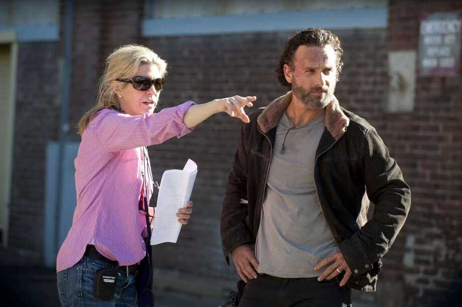 Michelle MacLaren and Andrew Lincoln - The Walking Dead _ BTS - Season 4, Episode 16 - Photo Credit: Gene Page/AMC