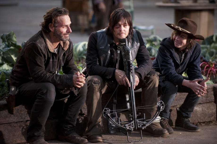 Andrew Lincoln, Norman Reedus and Chandler Riggs - The Walking Dead _ BTS - Season 4, Episode 16 - Photo Credit: Gene Page/AMC