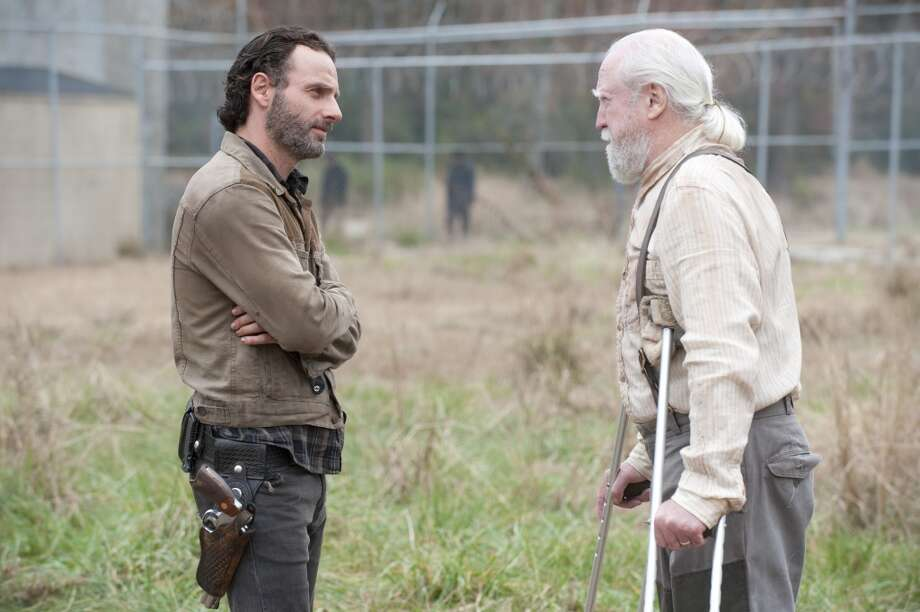 Rick Grimes (Andrew Lincoln) and Hershel Greene (Scott Wilson) - The Walking Dead _ Season 4, Episode 16 - Photo Credit: Gene Page/AMC