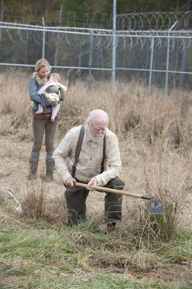 Beth Greene (Emily Kinney) and Hershel Greene (Scott Wilson) - The Walking Dead _ Season 4, Episode 16 - Photo Credit: Gene Page/AMC