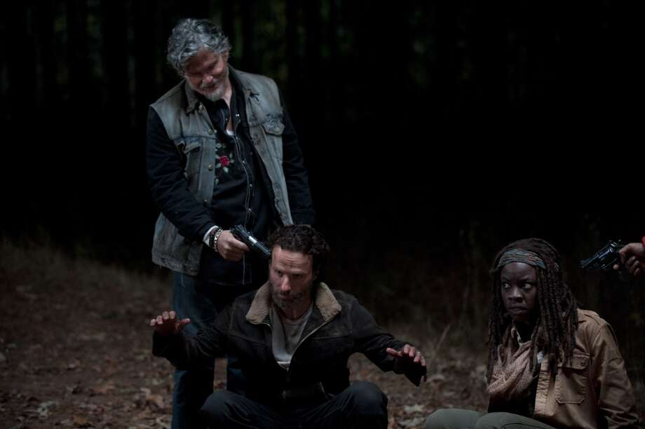 Rick Grimes (Andrew Lincoln) and Jeff Kober - The Walking Dead _ Season 4, Episode 16 - Photo Credit: Gene Page/AMC
