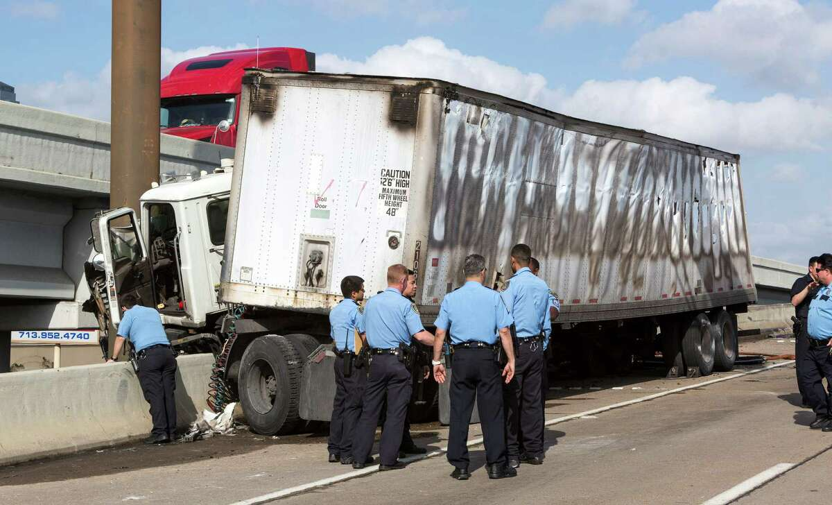All the southbound lanes of U.S. 59 at Chimney Rock were closed this afternoon due to an 18-wheeler crash and fire.