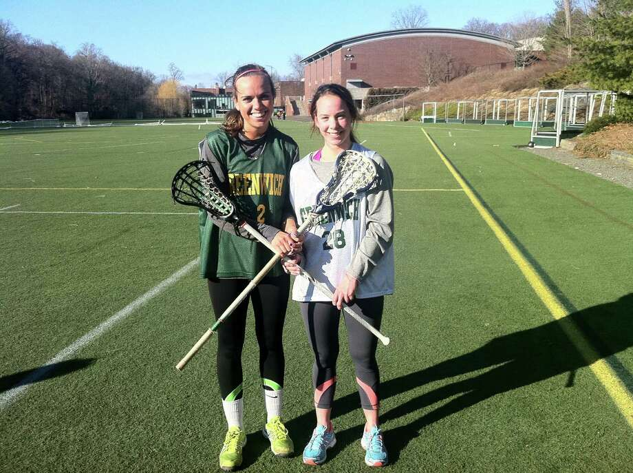 Captains Maggie Schmidt, left, and Annie DeFrino, will look to help the Greenwich Academy lacrosse team win another FAA championship. Photo: Dave Fierro, Anne Semmes / Greenwich Time