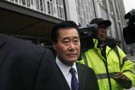 California state Sen. Leland Yee leaves the Phillip Burton Federal Building and United States Courthouse after a bond hearing on Monday, March 31, 2014, in San Francisco, Calif.