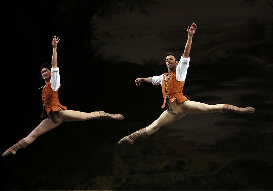 """Hansuke Yamamoto (left) and Daniel Deivison-Oliveira are part of the Act 1 pas de cinq of """"Giselle,"""" which returns next year. Photo: Sarah Rice, Special To The Chronicle"""