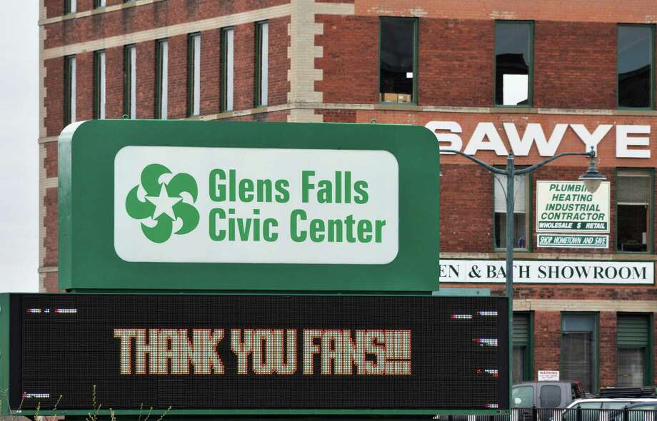 Sign outside the Glens Falls Civic Center in downtown Glens Falls, NY Tuesday April 23, 2013.  (John Carl D'Annibale / Times Union) Photo: John Carl D'Annibale / 00022042A
